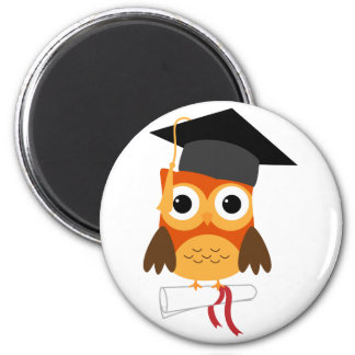 Orange Owl with Cap & Diploma Graduation Magnet