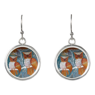 Orange Owls in a tree Earrings