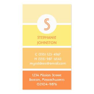 Orange paint chip modern monogram personal calling business card template