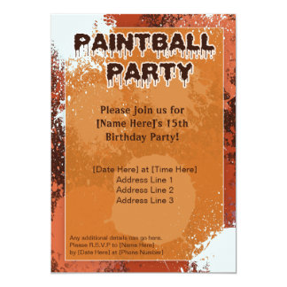 Orange Paintball Party Invite