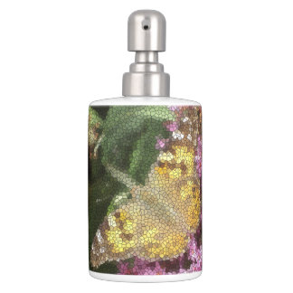 Orange Painted Lady Butterfly Mosaic on Lilac Soap Dispenser And Toothbrush Holder