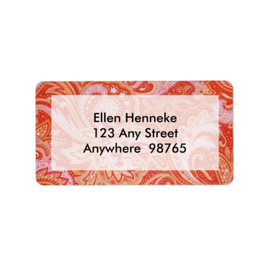 Orange Paisley Address Label