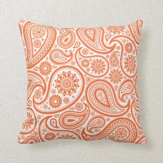 Orange Paisley Flora Pattern Pillow