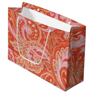 Orange Paisley Large Gift Bag