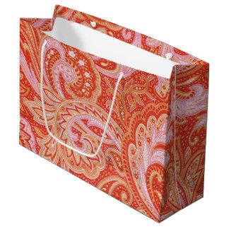 Orange Paisley Large Gift Bag