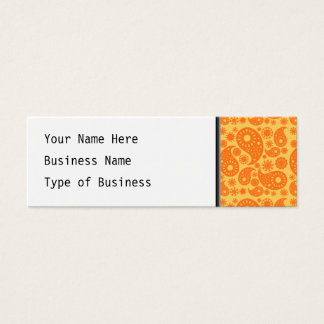 Orange Paisley. Mini Business Card
