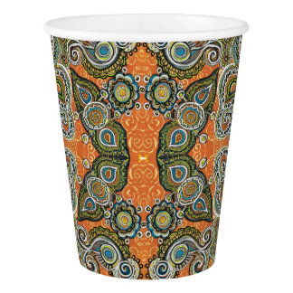 orange paisley paper cup