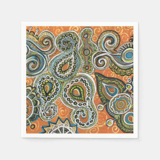 orange paisley paper napkin