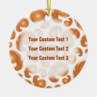 Orange Paisley Pattern Double-Sided Ceramic Round Christmas Ornament