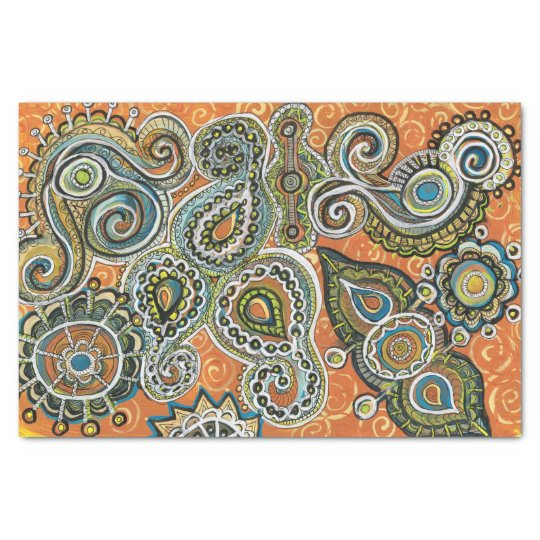 orange paisley tissue paper