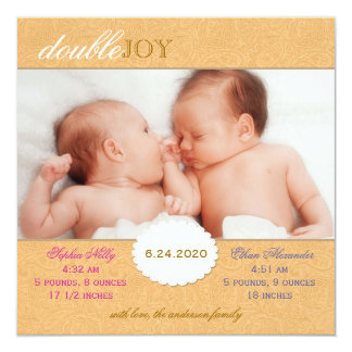 Orange Paisley Twins Photo Birth Announcement