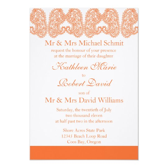 Orange Paisley Wedding Invitation