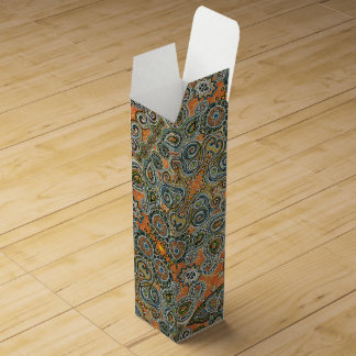 orange paisley wine box