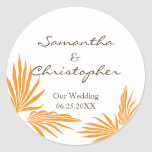Orange palm leaves tropic wedding favour seal round stickers
