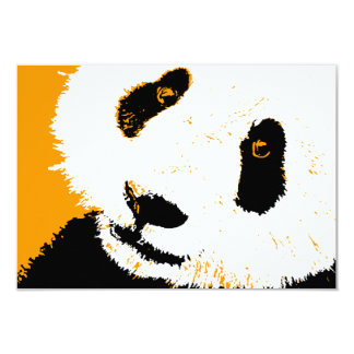orange panda 9 cm x 13 cm invitation card
