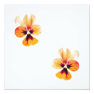 orange pansies 13 cm x 13 cm square invitation card