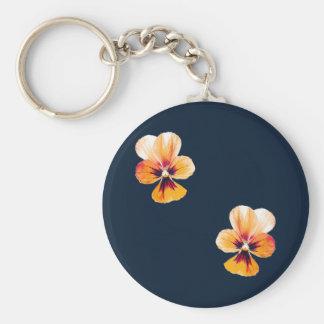 orange pansies key ring