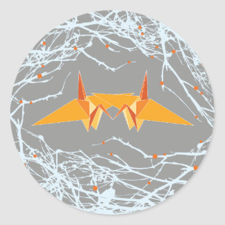 Orange Paper Cranes + Nest Branches Wedding Sticke Round Sticker