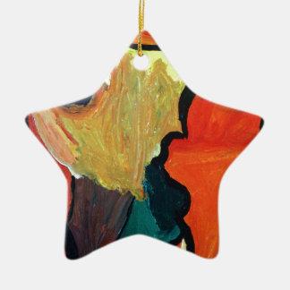 Orange Parrot Ceramic Star Decoration
