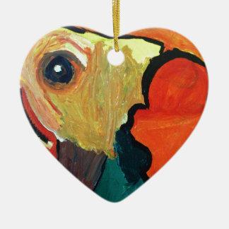 Orange Parrot Christmas Ornament