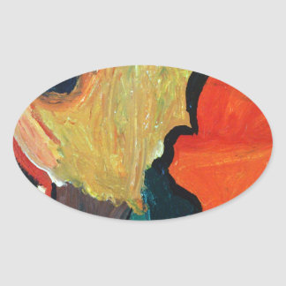 Orange Parrot Oval Sticker