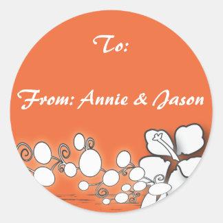 Orange Passion Flower Hawaii  Beach Wedding Round Sticker