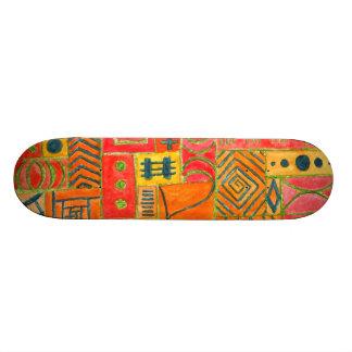 Orange Patchwork . orange, red and green Skate Deck