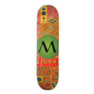 Orange Patchwork - orange with green monogram Skate Deck