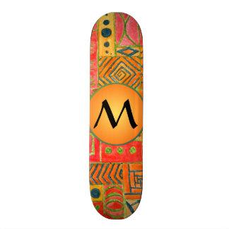 Orange Patchwork - red. green and orange monogram Skateboard