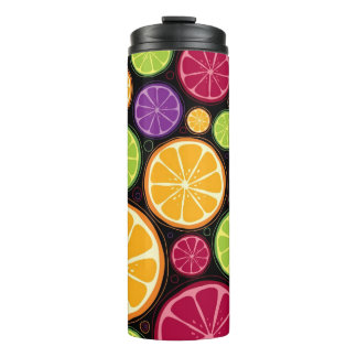 Orange pattern and background thermal tumbler