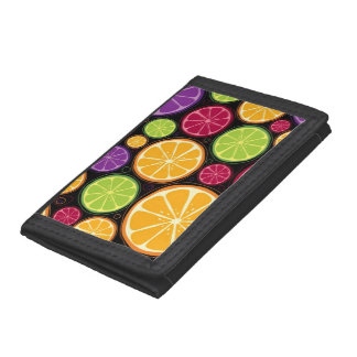 Orange pattern and background tri-fold wallet
