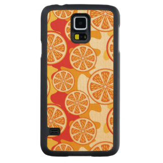 Orange pattern carved maple galaxy s5 case