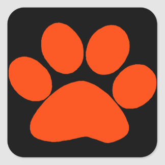 Orange Paw Print Square Sticker