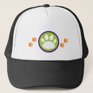 Orange Paw Prints Animal Pet Lover's Trucker Hat