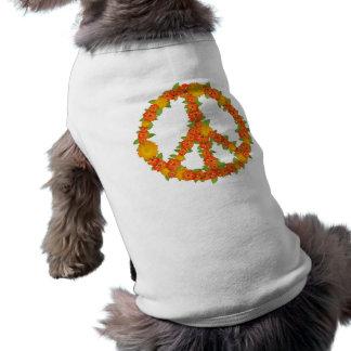 Orange Peace and Love Sign Sleeveless Dog Shirt