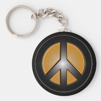 orange peace sign basic round button key ring