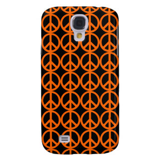Orange Peace Sign Pattern Galaxy S4 Case