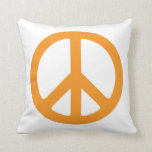 Orange Peace Sign Throw Pillow
