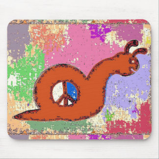 Orange Peace Snail Mouse Pad