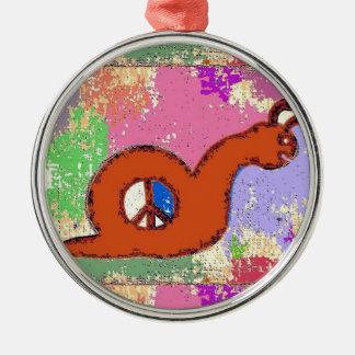 Orange Peace Snail Silver-Colored Round Decoration