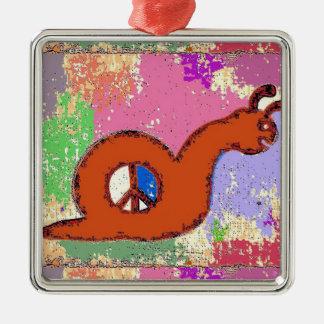 Orange Peace Snail Silver-Colored Square Decoration