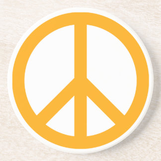 Orange Peace Symbol Coaster