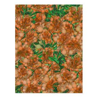 Orange Peach Green Flower Abstract Postcard