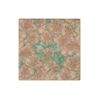 Orange Peach Green Flower Abstract Stone Magnet