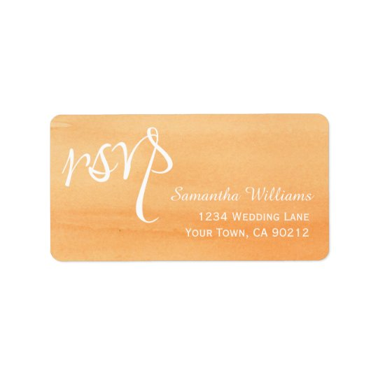 Orange Peach Watercolor Wedding RSVP Labels