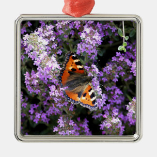 Orange Peacock Butterfly On Purple Flowers Silver-Colored Square Decoration