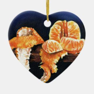 Orange, Peeled Ceramic Heart Decoration