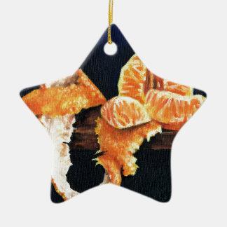 Orange, Peeled Ceramic Star Decoration