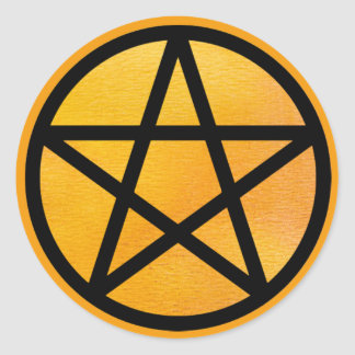 Orange Pentacle Stickers