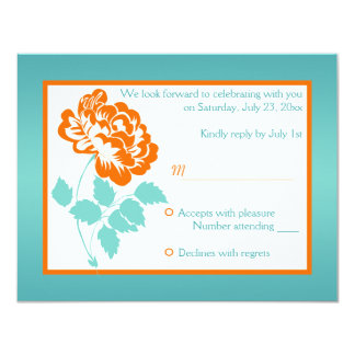 Orange Peony with Turquoise Reply Card 11 Cm X 14 Cm Invitation Card